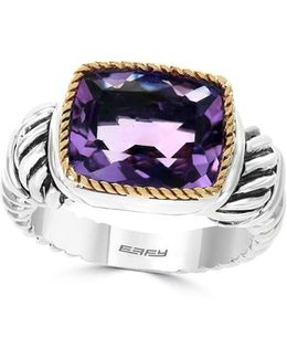 Amethyst, 18k Yellow Gold & Sterling Silver Ring