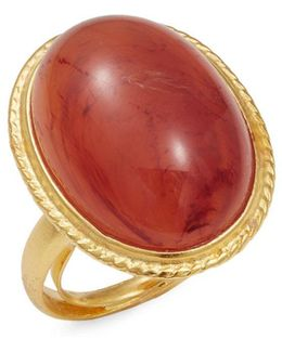 Couture Carnelian Cabochon Adjustable Statement Ring