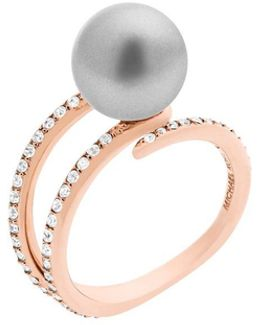 Modern Classic Grey Faux-pearl Pave Open Ring