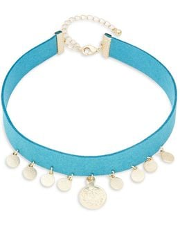 Disc Charm Choker Necklace