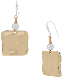 Bold Moves Two-tone Sculptural Square Drop Earrings