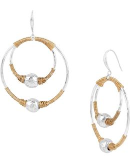 Bold Moves Two-tone Wire-wrapped Orbital Drop Earrings