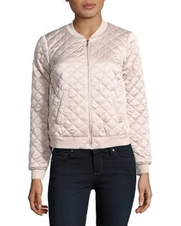 Love Poetry Quilted Bomber Jacket