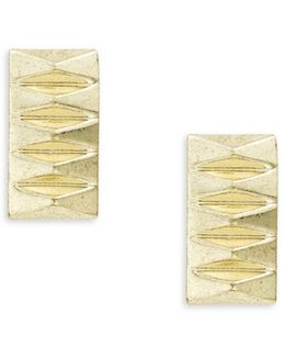 Pyramid Accented Rectangular Stud Earrings