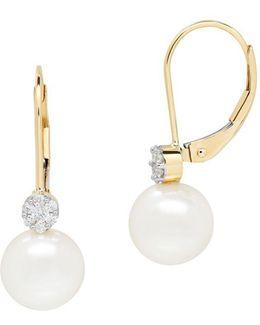 14k Yellow Gold Diamond And Pearl Drop Earrings 0.112 Tcw