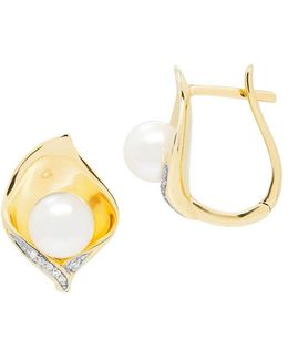 6 — 6.5mm Round Freshwater Pearl, Diamonds And 14k Yellow Gold Earrings