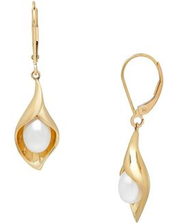 14k Yellow Gold Calla Lily Pearl Drop Earrings