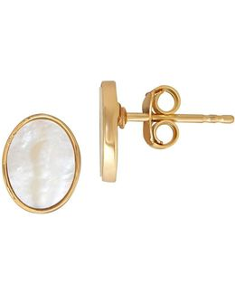 Oval Mother Of Pearl And 14k Yellow Gold Post Stud Earrings