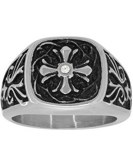 Cubic Zirconia And Stainless Steel Cross Ring