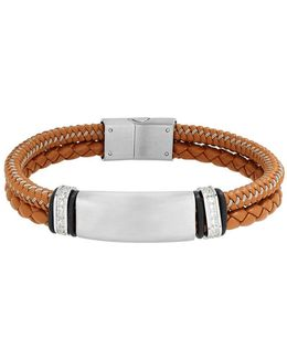 Stainless Steel, Leather Cord Braided Bracelet