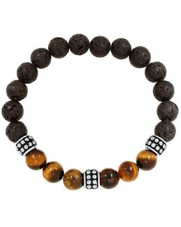 Stainless Steel Lava, Tiger Eye Bead Bracelet