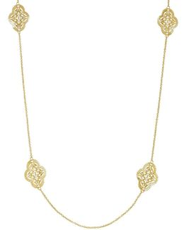 14k Yellow Gold Filigree Station Necklace