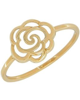 14k Yellow Gold Flower Cutout Ring