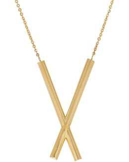 14k Yellow Gold X Pendant Necklace