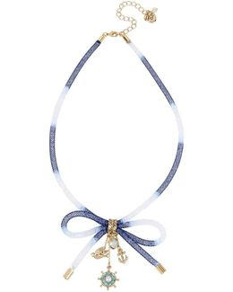 Anchors Away Mesh Tube Bow Multi Charm Necklace