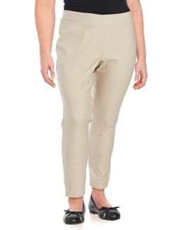 Plus Solid Ankle-length Pants