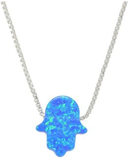 Blue Opal & Sterling Silver Hamsa Hand Pendant Necklace