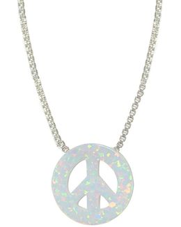 White Opal & Sterling Silver Peace Sign Pendant Necklace