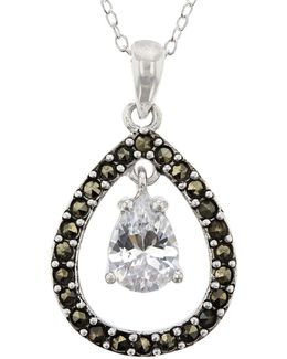 Marcasite Sterling Silver Teardrop Pendant Necklace