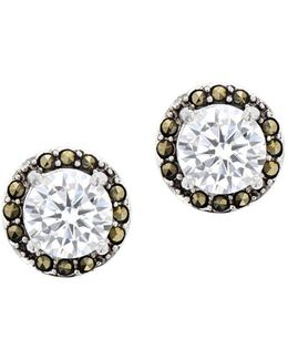Marcasite Sterling Silver Bezel Stud Earrings