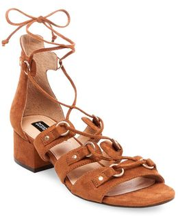 Eldy Snakeskin-embossed Lace-up Sandals