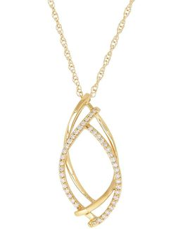Diamond And 14k Gold Pendant Necklace