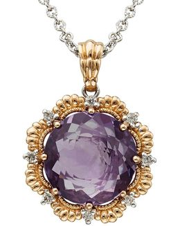 Amethyst, Diamond 14k Silver And Rose Gold Necklace