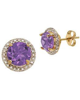 Andin Amethyst, Diamond 14k Yellow Gold Earrings