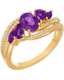 Andin Amethyst, Diamond, 14k Yellow Gold Ring