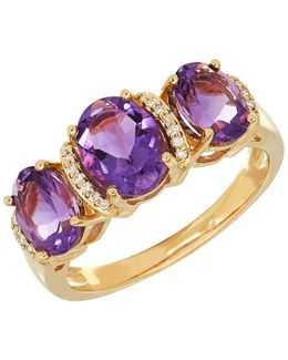 Andin Amethyst And 0.053 Tcw Diamond 14k Yellow Gold Oval Ring