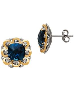 Diamond, Blue Topaz, 14k Yellow Gold And Sterling Silver Earrings