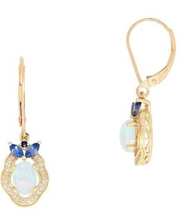 0.162 Tcw Diamond, Opal And Sapphire 14k Yellow Gold Oval Earrings