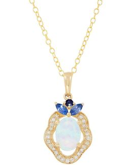 Opal, Sapphire, Diamond 14k Yellow Gold Necklace