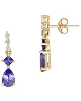 Tanzanite And White Topaz 14k Yellow Gold Drop Earrings
