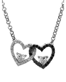Diamond Silver Double Heart On Rolo Pendant Necklace