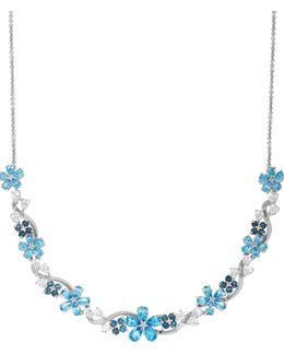 Two-tone Topaz Silver Flower Necklace