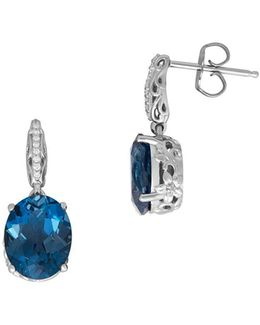 Blue Topaz And 0.053 Tcw Diamond Silver Earrings