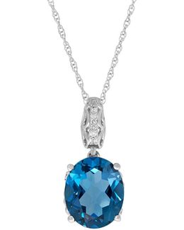 Blue Topaz And 0.042 Tcw Diamond Silver Oval Pendant Necklace