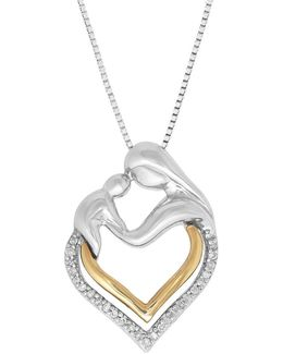 Diamond Two-tone Mother And Baby Pendant Necklace