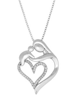 Diamond Silver Heart Mother And Baby Pendant Necklace