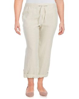 Plus Straight-leg Linen Pants