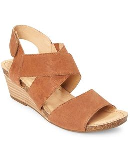 Toree Leather Stacked Wedge Heel Sandals