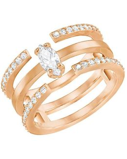 Gray Crystal & 18k Rose Gold-plated Cutout Ring