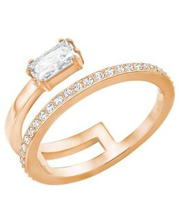 Gray Crystal & 18k Rose Gold-plated Layered Ring