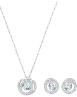 Crystal And Pear Accented Crystal Pendant And Postback Earrings Set