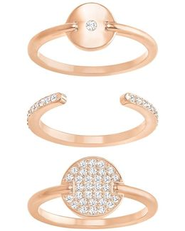 Ginger Crystal & 18k Rose Gold-plated Ring- Set Of 3