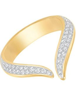 Groove 23k Goldplated And Genuine Crystal Ring