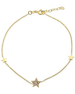 Cubic Zirconia And 18k Gold-plated Sterling Silver Star Charm Anklet