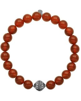 Red Agate Oxidized Sterling Silver Beaded Bracelet