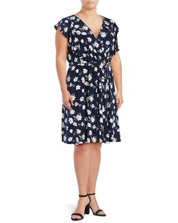Plus Floral Mock-wrap Dress